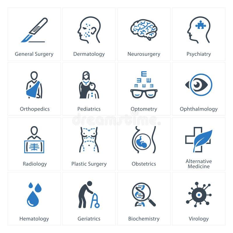 Os ícones médicos & dos cuidados médicos ajustaram 2 - especialidades ilustração royalty free