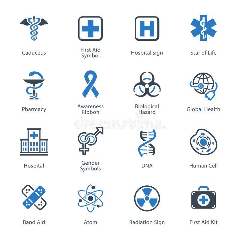 Os ícones médicos & dos cuidados médicos ajustaram 1 - série azul ilustração royalty free