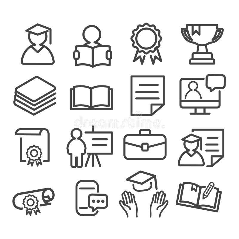 Os ícones mínimos da educação ajustaram-se isolado Coleção do esboço moderno da escola e da universidade no fundo branco ilustração royalty free