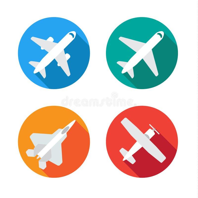 Os ícones mínimos lisos dos aviões ou do avião ajustaram a silhueta do vetor da coleção ilustração royalty free