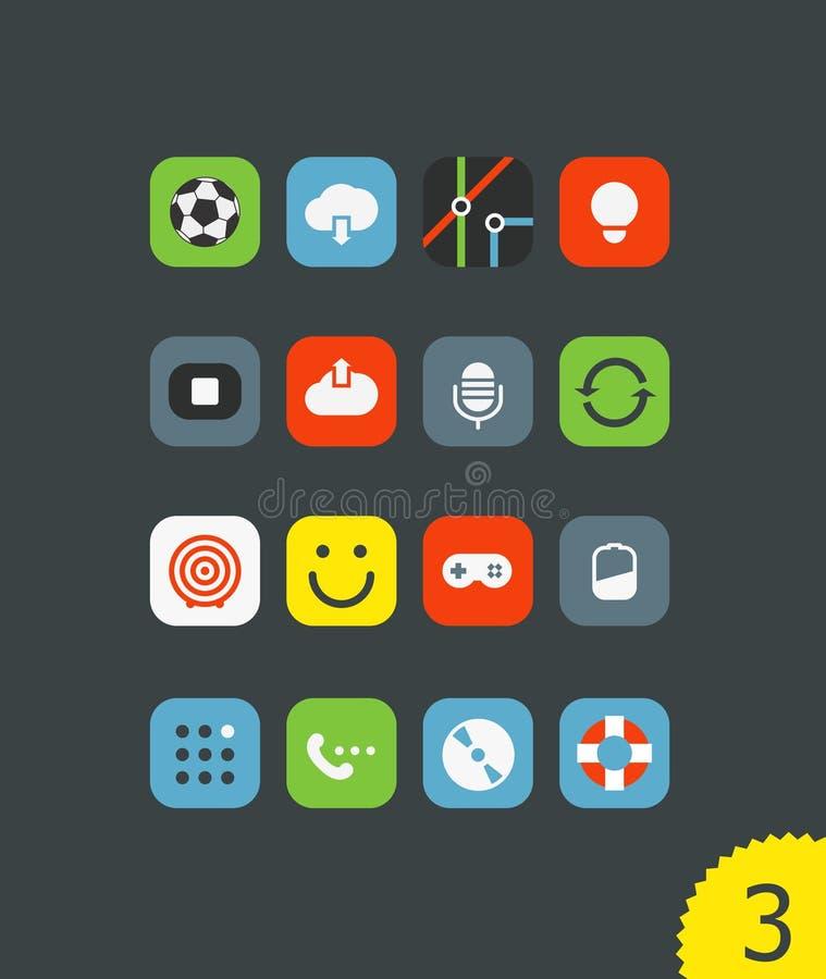 Os ícones móveis diferentes da aplicação ajustaram-se com cantos arredondados ilustração stock