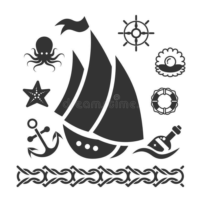 Os ícones marinhos do vintage ajustaram-se com a âncora da estrela do mar do navio ilustração stock
