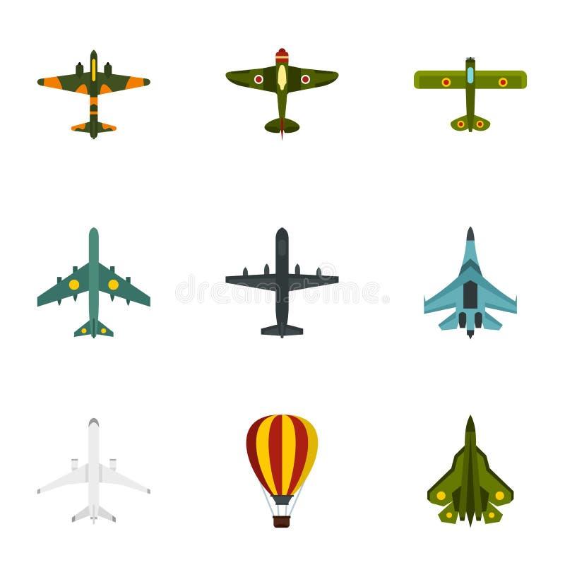 Os ícones militares do transporte aéreo ajustaram-se, estilo liso ilustração stock