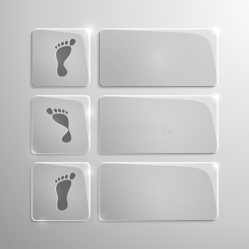 Os ícones modernos de vidro ajustaram-se da pronação do pé ilustração stock