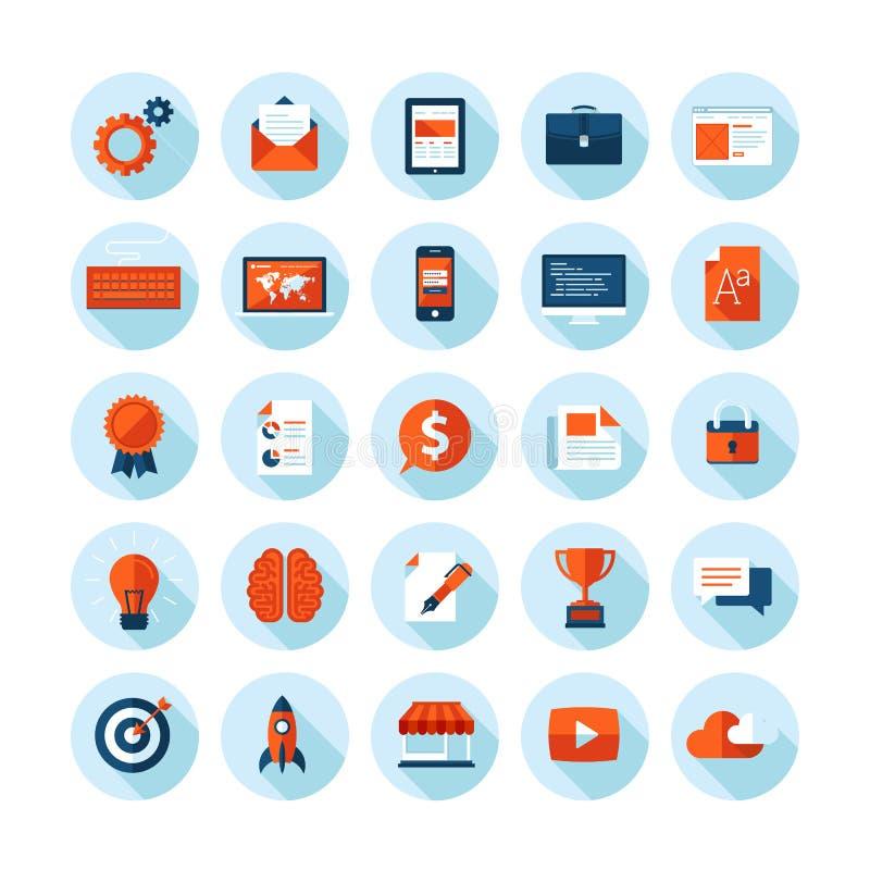 Os ícones modernos do projeto liso ajustaram-se de artigos do design web ilustração do vetor