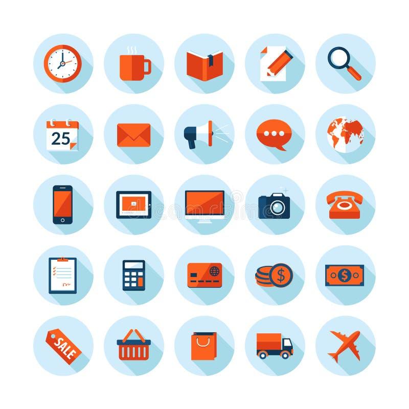 Os ícones modernos do projeto liso ajustaram-se no tema do negócio e da finança ilustração do vetor