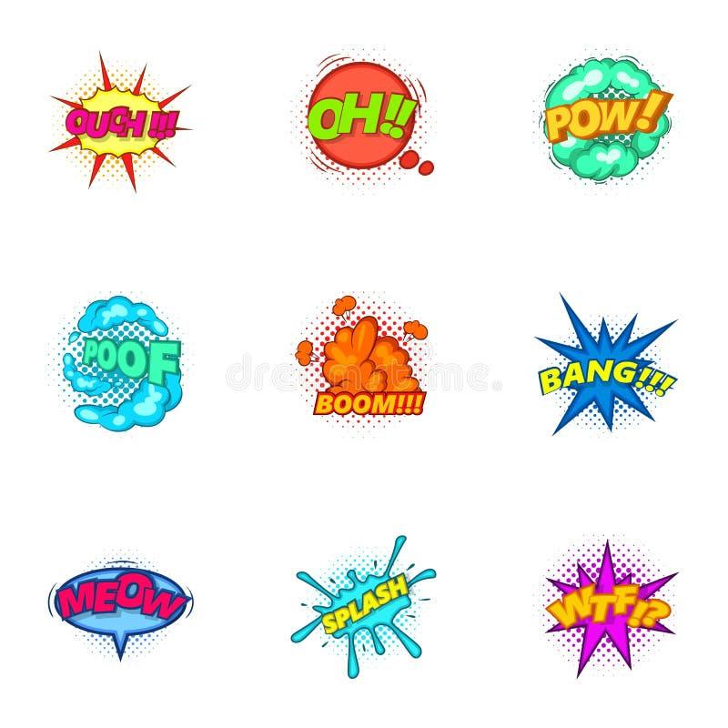 Os ícones na moda das bolhas do discurso ajustaram-se, estilo dos desenhos animados ilustração do vetor
