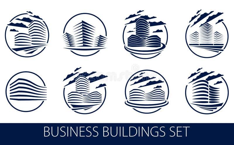 Os ícones ou os logotipos da forma redonda do prédio de escritórios ajustaram-se, coleção moderna das ilustrações do vetor da arq ilustração royalty free
