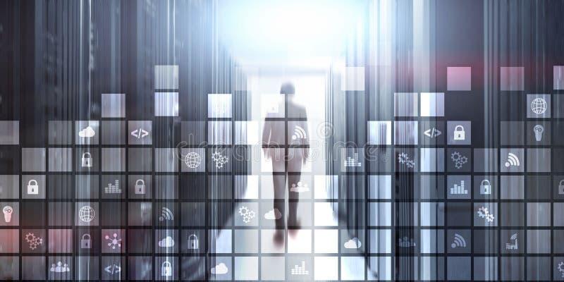 Os ícones pixelated fundo do sumário de Digitas borraram a sala moderna do servidor Internet de Iot da telecomunicação da tecnolo ilustração do vetor
