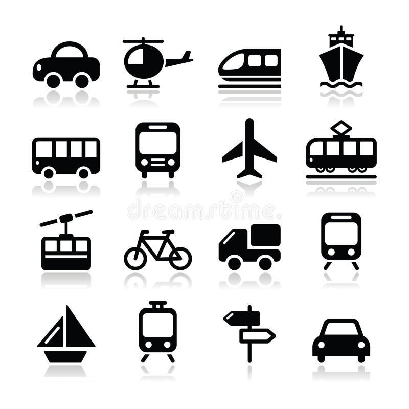 O Transporte, ícones Do Curso Ajustados Isoalted No Branco Fotografia de Stock