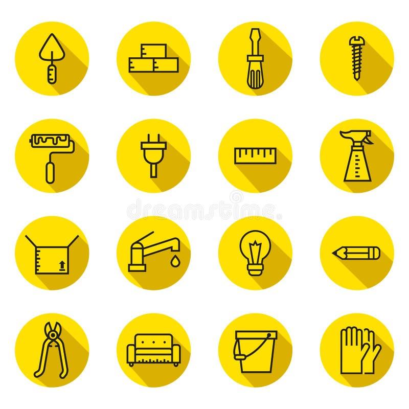 Os ícones (pretos e amarelos) lisos home do vetor do reparo e da construção ajustaram-se com sombras Projeto de Minimalistic ilustração do vetor