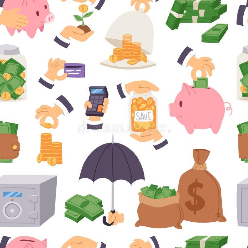 Os ícones principais da finança do conceito do investimento monetário dos símbolos do vetor das economias do dinheiro que deposit ilustração stock