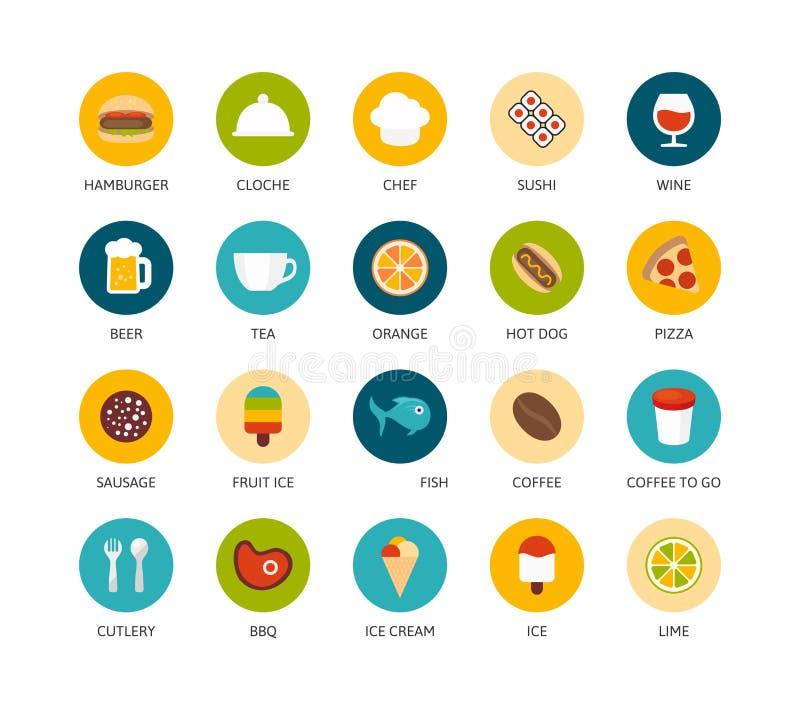 Os ícones redondos diluem o projeto liso, linha moderna curso ilustração royalty free