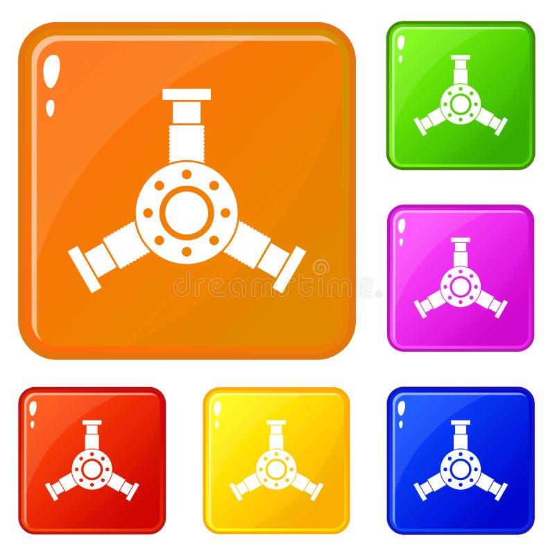 Os ícones redondos do detalhe do mecânico ajustaram a cor do vetor ilustração royalty free