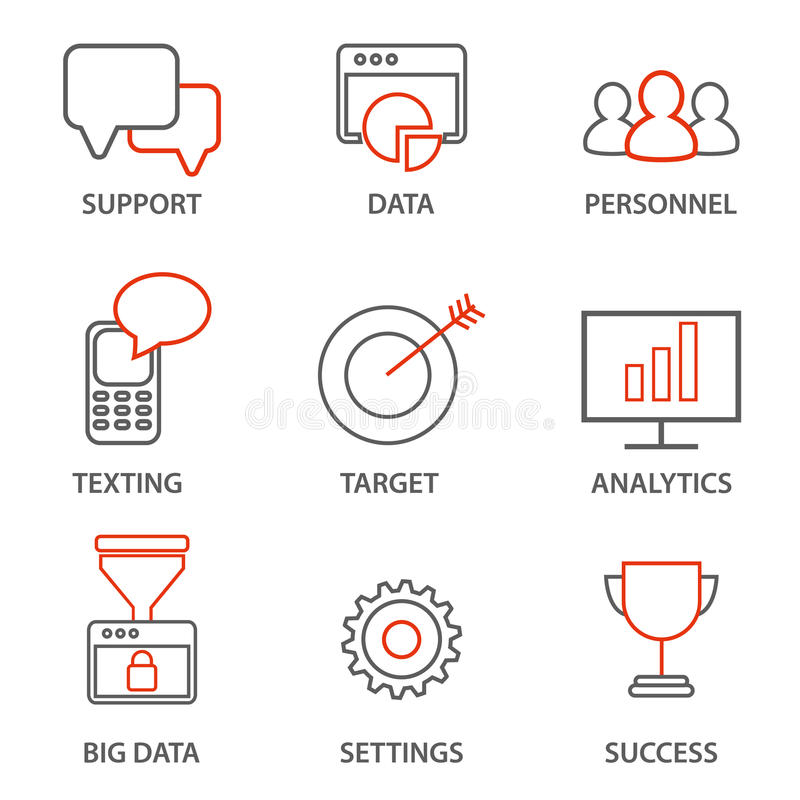Os ícones relacionaram-se à gestão empresarial, à estratégia, ao progresso da carreira e ao processo de negócios ilustração stock
