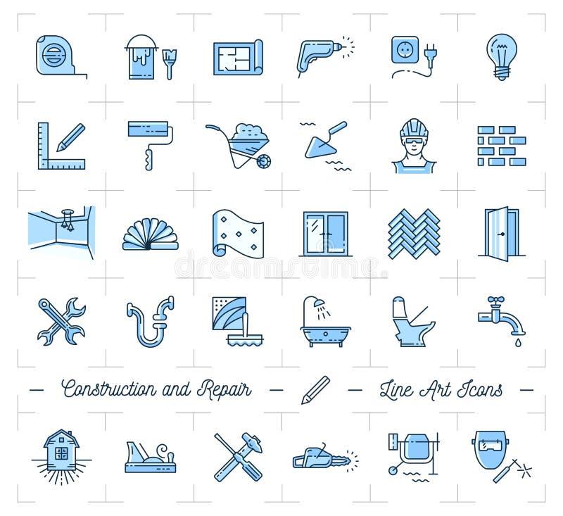 Os ícones reparam, a melhoria home Ícones das ferramentas da construção e da construção ajustados ilustração stock