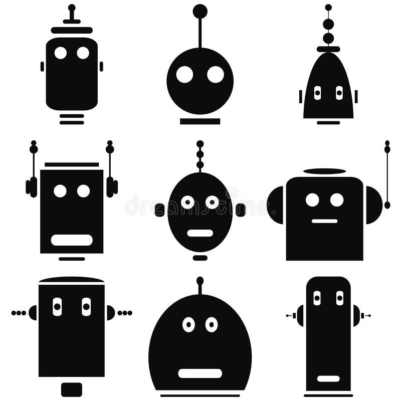 Os ícones retros das cabeças dos robôs do vintage ajustaram-se em preto e branco ilustração royalty free
