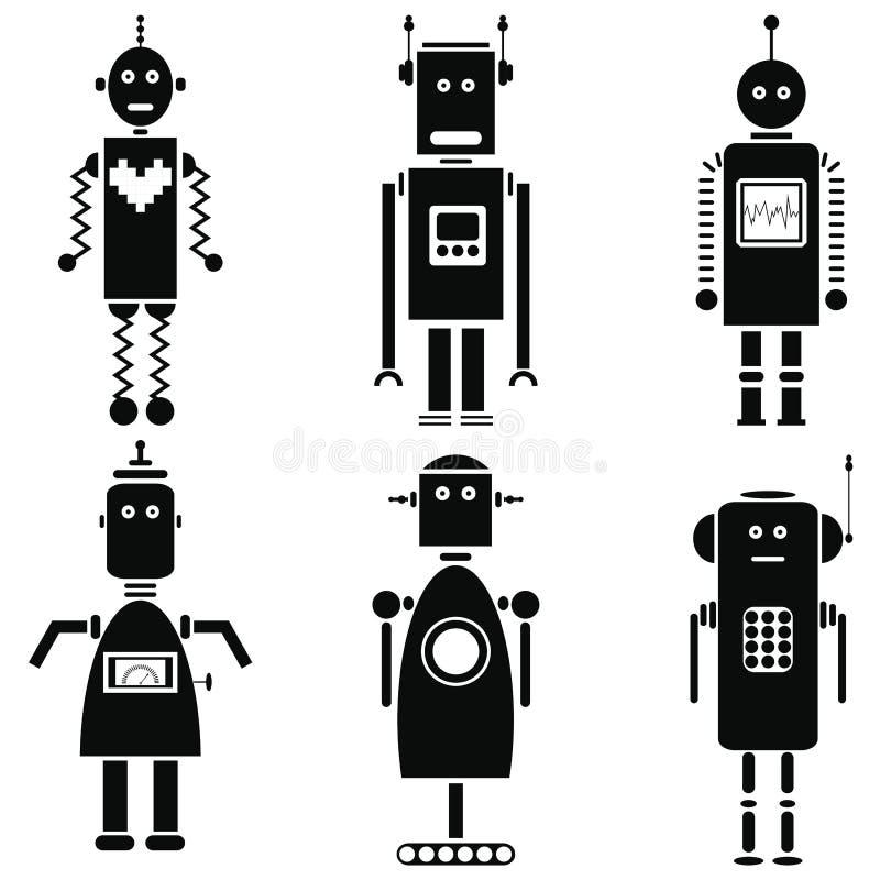 Os ícones retros dos robôs do vintage ajustaram-se em um grupo preto e branco de 6 ilustração royalty free
