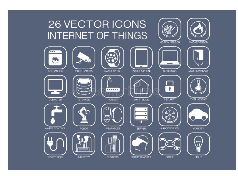 Os ícones reusáveis da ilustração para o Internet de assuntos das coisas gostam da domótica, casa esperta ilustração royalty free
