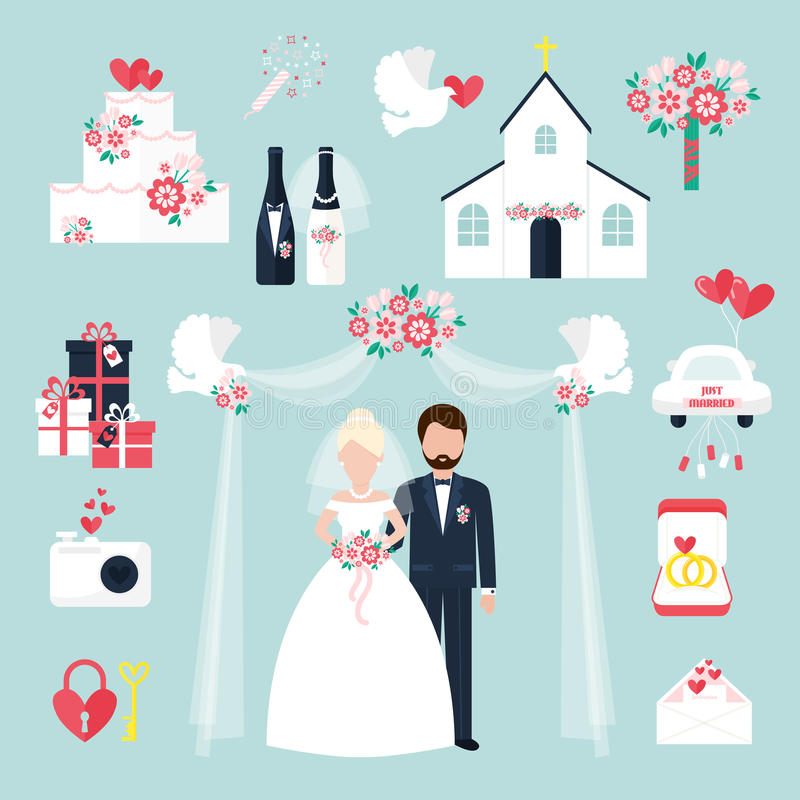 Os ícones romances dos pares da decoração do aniversário liso ajustado da celebração do convite dos elementos do casamento vector ilustração royalty free