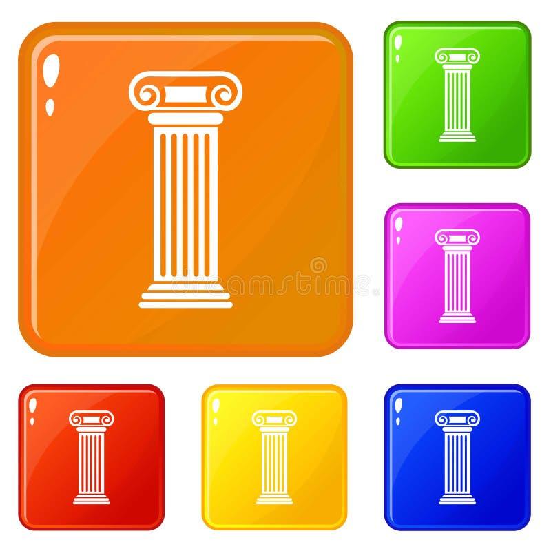 Os ícones romanos da coluna ajustaram a cor do vetor ilustração stock