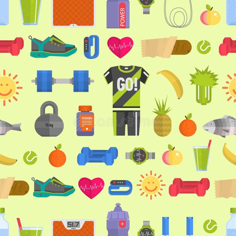 Os ícones saudáveis da dieta do estilo de vida e o fundo sem emenda do teste padrão dos fitnes do estilo de vida das sapatilhas d ilustração stock