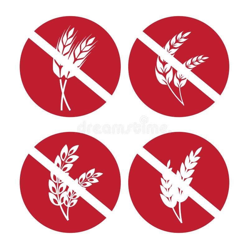 Os ícones sem glúten ajustaram-se com as orelhas do trigo e do centeio ilustração royalty free