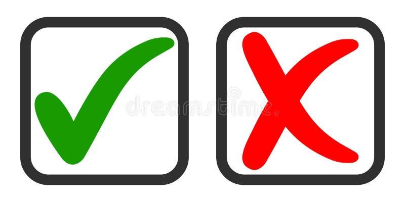 Os ícones sim e não, votando a favor e contra, vector o tiquetaque verde e a cruz vermelha no quadrado de votação ilustração stock