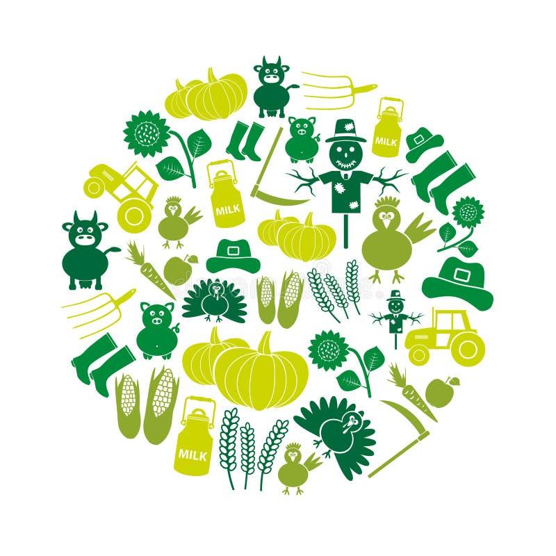 Os ícones simples da cor da exploração agrícola ajustaram o vetor no círculo ilustração royalty free