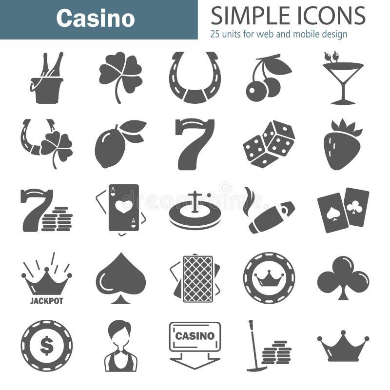 Os ícones simples do casino ajustaram-se para a Web e o projeto móvel ilustração do vetor