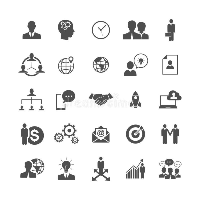 Os ícones simples do negócio ajustaram-se, gestão, recursos humanos ilustração royalty free