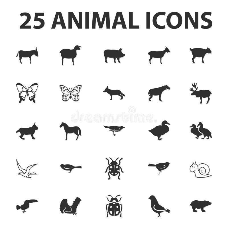 Os ícones simples pretos do animal e do animal 25 ajustaram-se para a Web ilustração do vetor