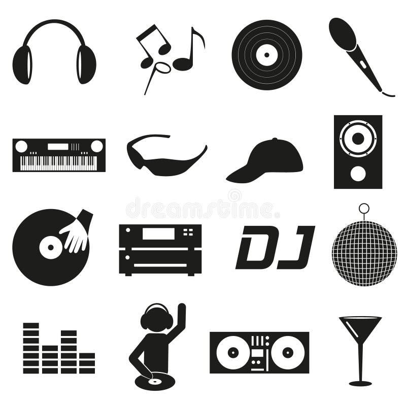Os ícones simples pretos do DJ do clube da música ajustaram eps10 ilustração stock