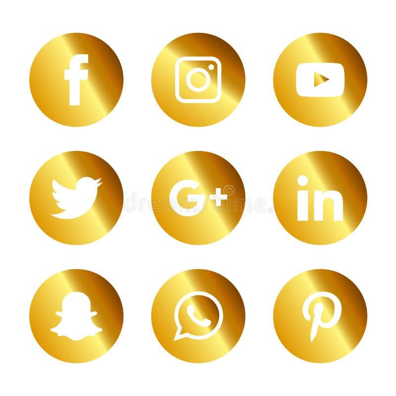 Os ícones sociais dos meios ajustaram Logo Vetora Illustrator ilustração do vetor
