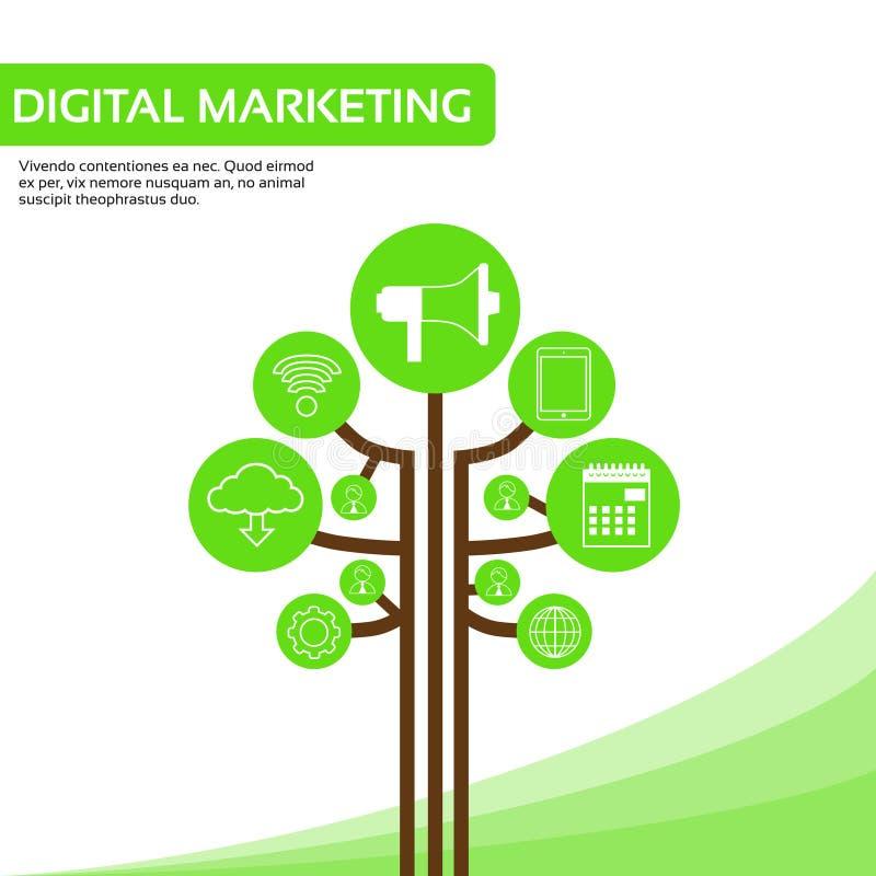 Os ícones sociais dos meios da árvore da tecnologia diluem a linha logotipo ilustração do vetor