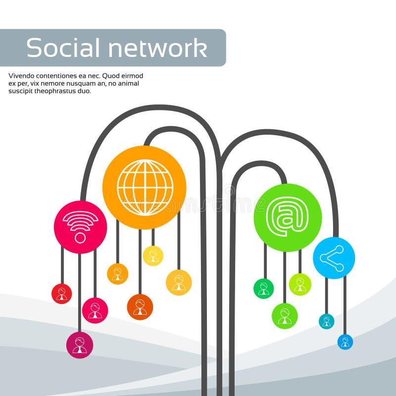 Os ícones sociais dos meios da árvore da tecnologia diluem a linha logotipo ilustração stock