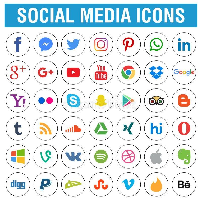 Os ícones sociais dos meios embalam circularmente ilustração stock