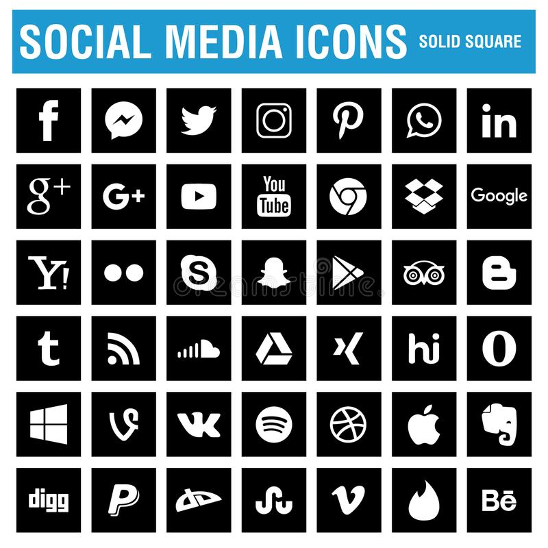 Os ícones sociais dos meios embalam o preto ilustração do vetor