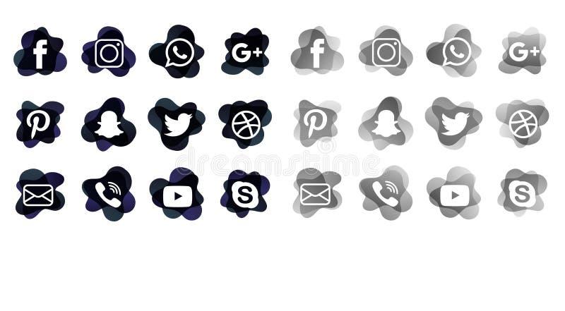 Os ícones sociais dos meios empacotam ilustração royalty free