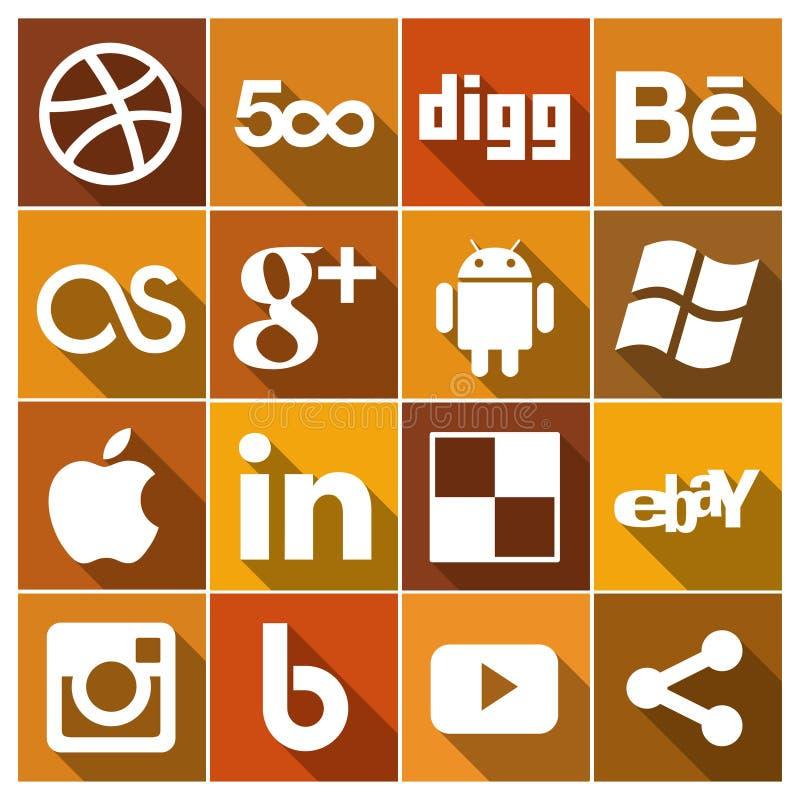 Os ícones sociais lisos dos meios do vintage ajustaram 2