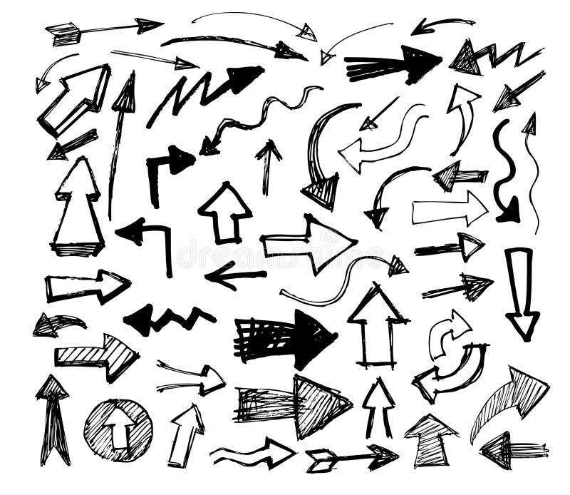 Os ícones tirados mão das setas do vetor ajustaram-se no branco ilustração do vetor