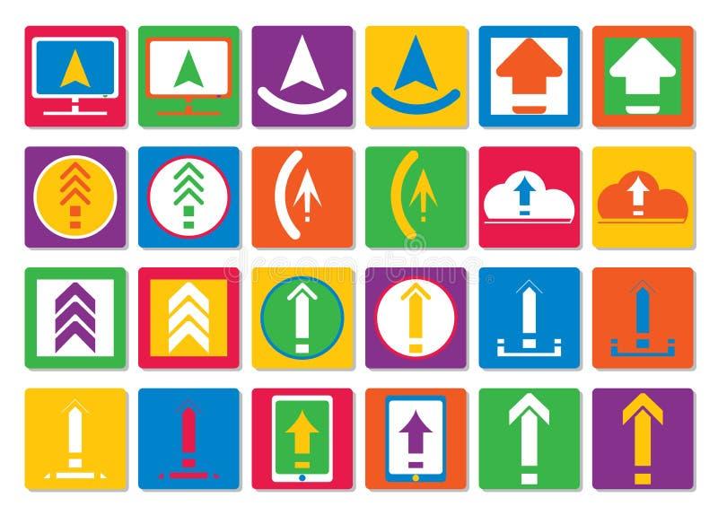 Os ícones transferem arquivos pela rede, transferem arquivos em um estilo liso Grupo de ícones coloridos do vetor para a site ou  ilustração stock