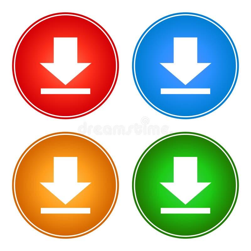 Os ícones transferem a cor da Web do vetor dos botões ilustração stock