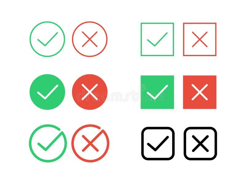 Os ícones transversais da marca de verificação do tiquetaque e do vetor da diminuição para o Internet abotoam-se ilustração stock
