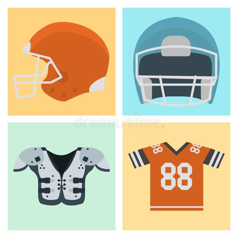 Os ícones uniformes do jogo do esporte do jogador de futebol americano vector o atleta de salto dos EUA do sucesso do lançador do ilustração stock