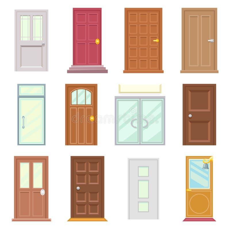 Os ícones velhos modernos das portas ajustaram a ilustração isolada do vetor da casa projeto liso ilustração stock