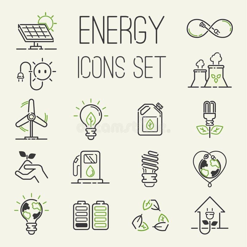 Os ícones verdes da energia do eco do vetor ajustaram natureza ajustada do ambiente do óleo da bateria do poder dos ícones da ene ilustração royalty free