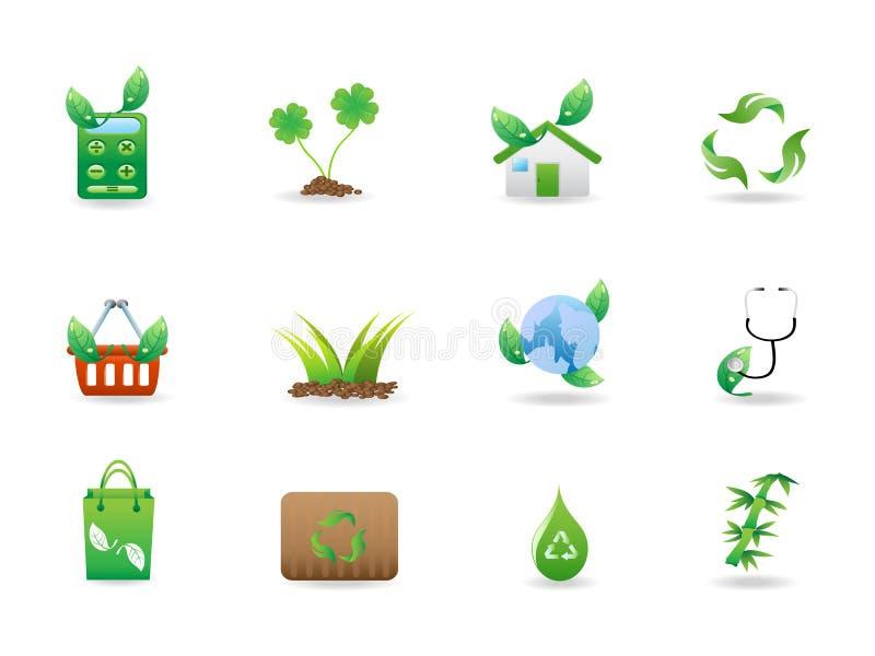 Os ícones verdes do eco ajustaram-se ilustração royalty free