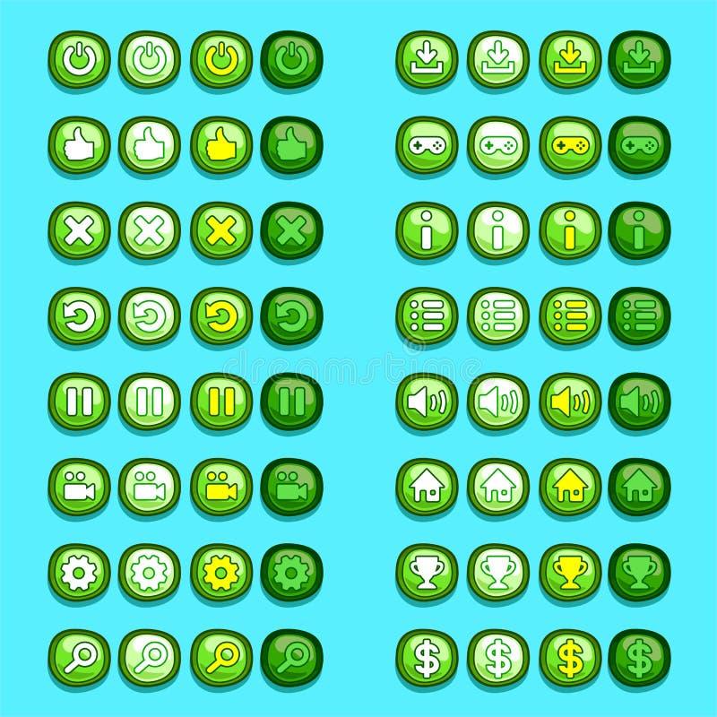 Os ícones verdes do jogo abotoam ícones, relação, ui ilustração royalty free