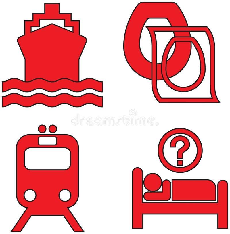 Os ícones vermelhos ajustaram dezenove ilustração royalty free
